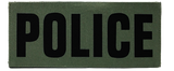 "SBT Banshee 3""x7"" POLICE Chest Patch with Hook Back Black on Olive"