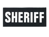 """SBT Banshee 3""""x7"""" SHERIFF Chest Patch with Hook Back White on Black"""