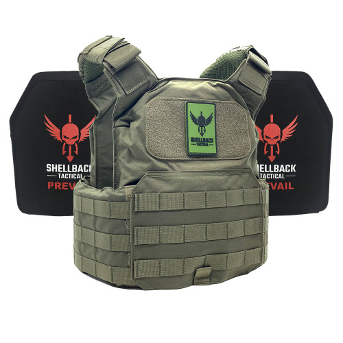 Shellback Tactical Shield Active Shooter Kit with Level IV 1155 Plates Ranger Green
