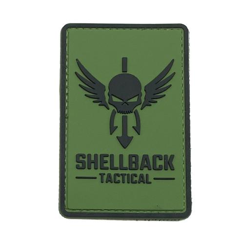 Shellback Tactical Logo PVC Patch Black on Ranger Green