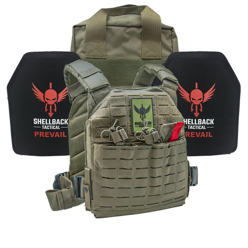 Shellback Tactical Defender 2.0 Active Shooter Kit with Level IV 1155 Plates Ranger Green