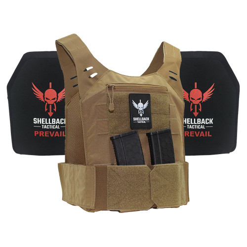 Shellback Tactical Stealth Low Vis Lightweight Armor System with Level III LON-III-P Plates Coyote