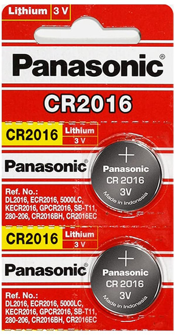 Panasonic CR2016 3 Volt Lithium Coin Cell Battery - Pack of 2