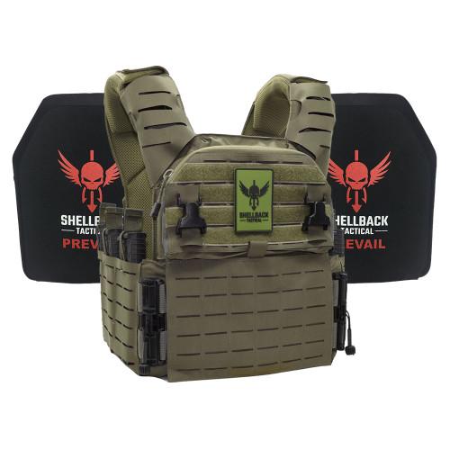 Shellback Tactical Banshee Elite 3.0 Lightweight Armor System with Level III LON-III-P Plates Ranger Green