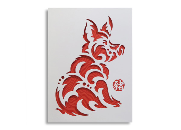 """Year of the Earth Pig 2019"" Specialty Die-Cut Card (3 pack)"