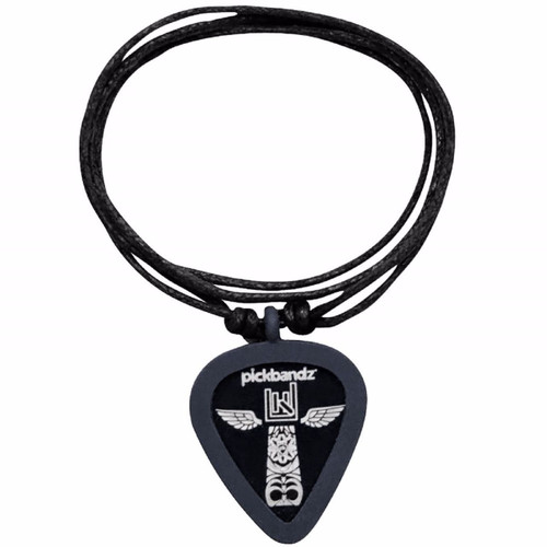 Pickbandz Rope Necklace with Guitar Pick Holder Pendant, Timberwolf Gray (PBN-GY)