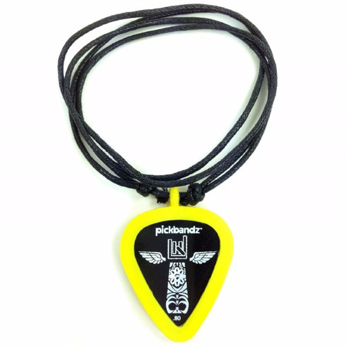Pickbandz Rope Necklace with Guitar Pick Holder Pendant, Mellow Yellow (PBN-YE)