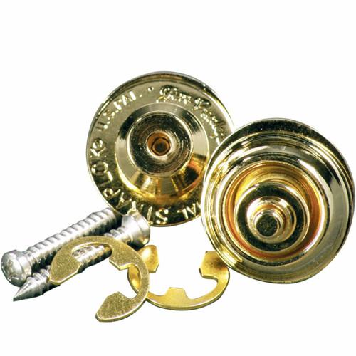 Dunlop Dual Design Straplok System Strap Locks and Buttons, Gold (SLS1034G)