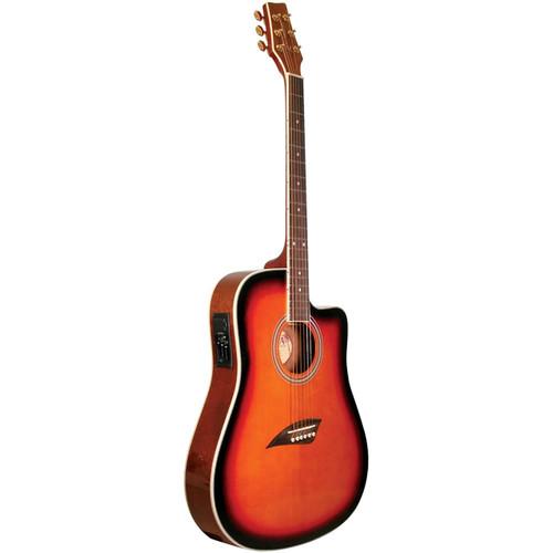 Kona K2SB Thin Body Acoustic Electric Guitar, Tobacco Sunburst