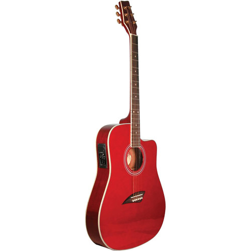 Kona K2TRD Thin Body Acoustic Electric Guitar, Transparent Red