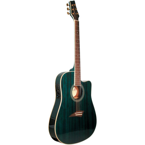 Kona K2TBL Thin Body Acoustic Electric Guitar, Transparent Blue (K2TBL)