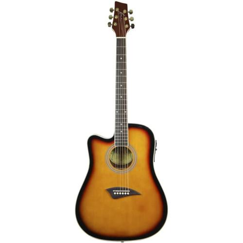 Kona K2LTSB Left Handed Thin Body Acoustic Electric Guitar, Tobacco Sunburst (K2LTSB)