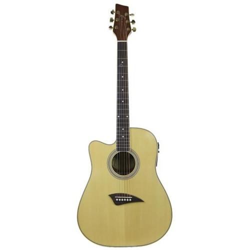 Kona K1E Left Handed Dreadnought Acoustic Electric Guitar, Natural (K1EL)