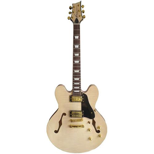 Kona KE35FMN Semi Hollowbody Electric Guitar with Case, Natural (KE35FMN)