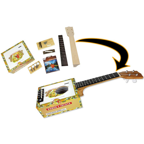 C.B. Gitty Complete Cigar Box Concert Ukulele DIY Kit with All Parts and Hardware Included to Build it Yourself (36-009-01)
