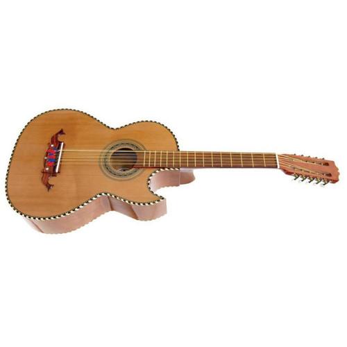 Paracho Elite Laredo 10-String Traditional Bajo Quinto Guitar, Natural (LAREDO)