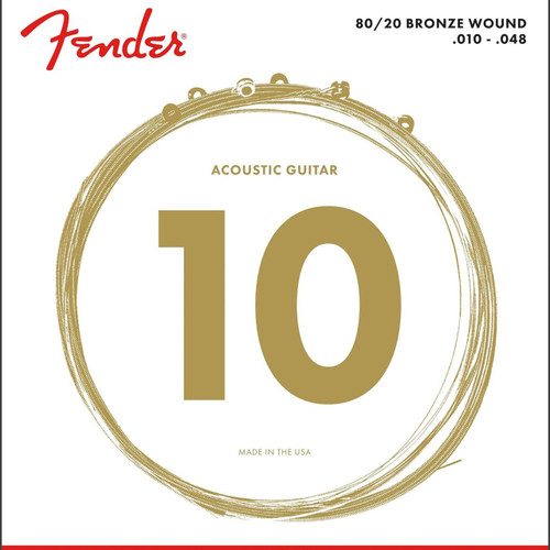 Fender 70XL 80/20 Bronze Acoustic Guitar Strings, Ball End, Extra Light 10-48 (073-0070-402)