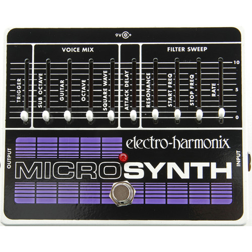 Electro-Harmonix MICROSYNTH Analog Guitar Synthesizer Effects Pedal with Power Supply
