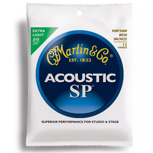 Martin MSP3600 SP 80/20 Bronze 12-String Extra Light Acoustic Guitar Strings