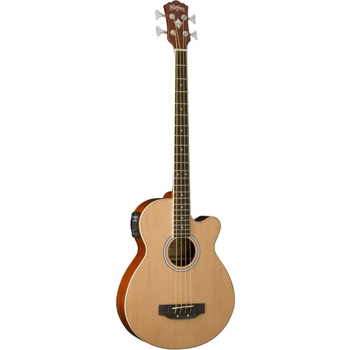 Washburn AB5K 4-String Acoustic Electric Bass Guitar with Gig Bag, Natural (AB5K)