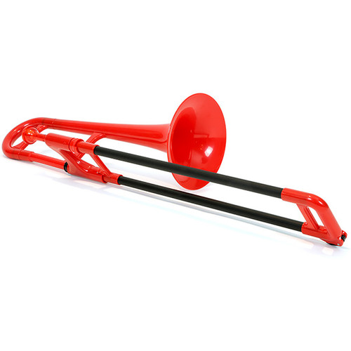 Jiggs pBone PBONE2R Mini Plastic Trombone with Carrying Bag, Red