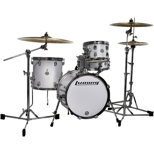 Ludwig LC179X028 Breakbeats by Questlove 4-Piece Shell Pack, White Sparkle