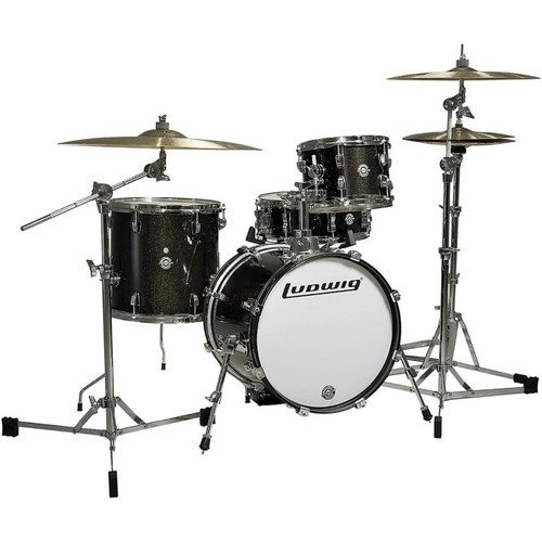 Ludwig LC179X016 Breakbeats by Questlove 4-Piece Shell Pack, Black Sparkle