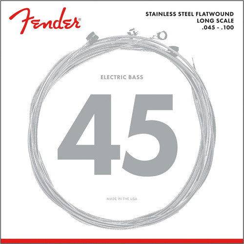 Fender 9050L Stainless Steel Flatwound 4-String Bass Guitar Strings, Light (073-9050-403)