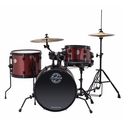 Ludwig LC178X025 Questlove Pocket Kit 4-Piece Junior Drum Set, Wine Red Sparkle