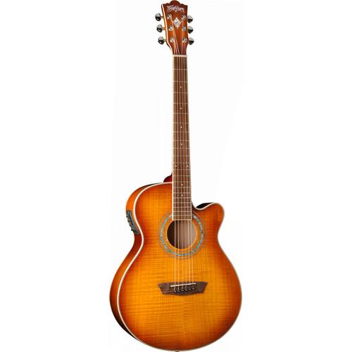Washburn EA15ITB Mini Jumbo Acoustic-Electric Guitar, Ice Tea Burst