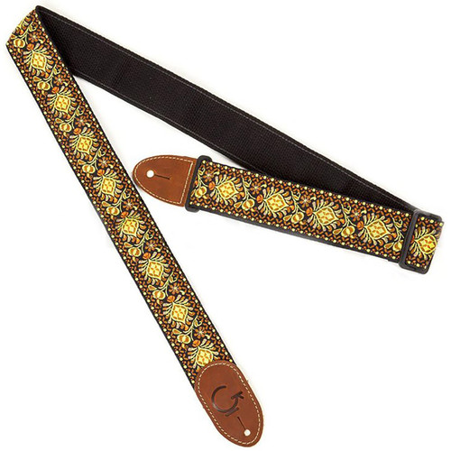 Gretsch G Brand Retro Jacquard Guitar Strap with Brown Leather Ends, Yellow/Orange (922-0060-102)