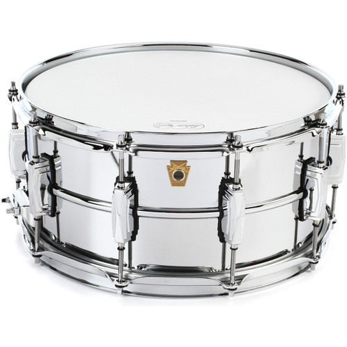 """Ludwig LM402 Supraphonic Smooth Chrome Plated Aluminum Snare Drum w/ Imperial Lugs, 6.5"""" x 14"""" (LM402)"""