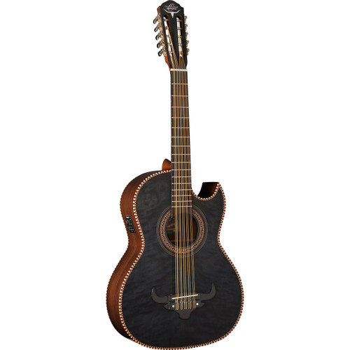 Oscar Schmidt OH32SEQTB Quilt Maple Acoustic Electric Bajo Quinto with Gig Bag, Transparent Black