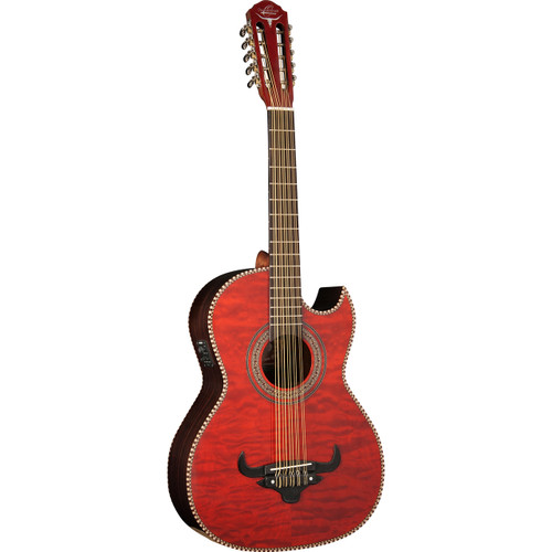 Oscar Schmidt OH32SEQTR Quilt Maple Acoustic Electric Bajo Quinto with Gig Bag, Transparent Red