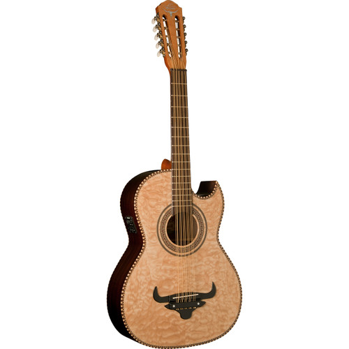 Oscar Schmidt OH32SEQN Quilt Maple Acoustic Electric Bajo Quinto with Gig Bag, Natural