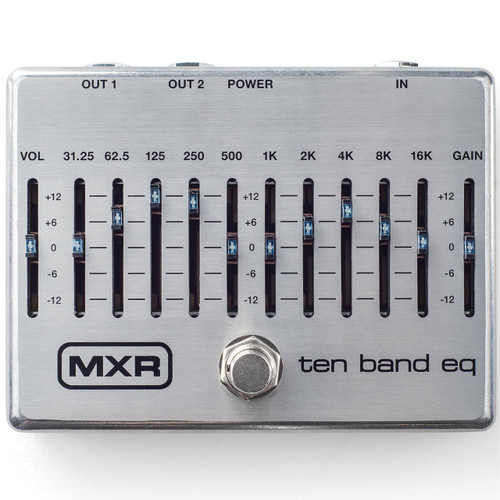 MXR M108S Ten Band EQ - 10 Band Graphic EQ Guitar Pedal, Silver (MXR-M108S)