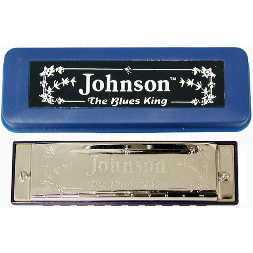 Johnson BK-520-F Blues King Harmonica, Key of F - Single Harp with Case