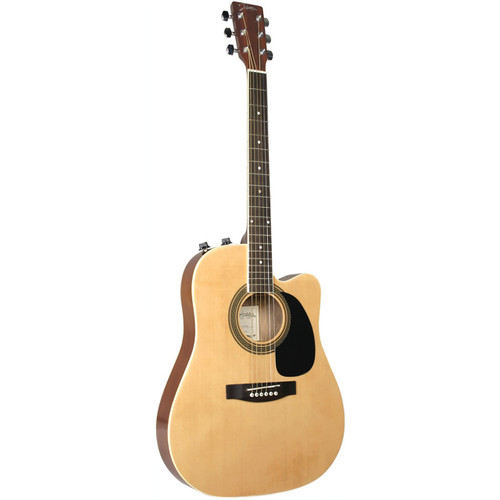 Johnson JG-650-TN Thinbody Acoustic Electric Guitar, Natural