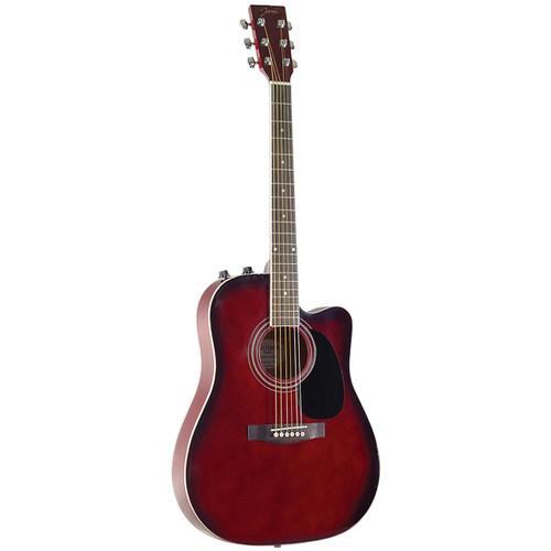 Johnson JG-650-TR Thinbody Acoustic Electric Guitar, Redburst