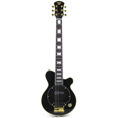 Pignose PGG-200 Deluxe Mini Electric Travel Guitar with Built-in Amp, Black (Gold Hardware) (PGG-200BK)