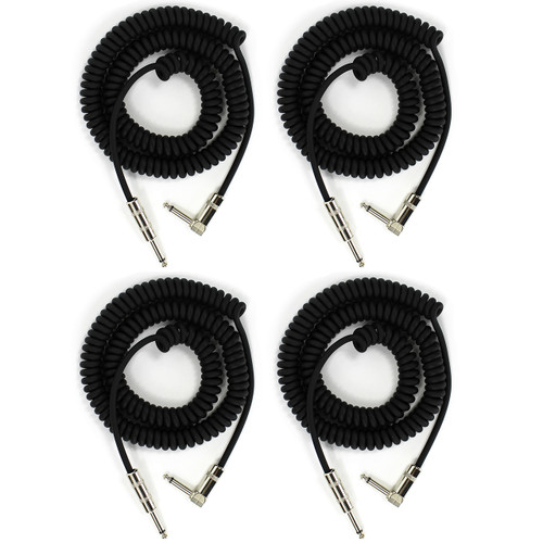 Perfektion PM204 Heavy Duty Vintage Coiled 20' ft Guitar & Instrument Cable, 4-Pack (PM204-4PK)