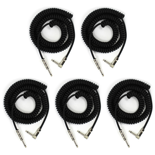 Perfektion PM204 Heavy Duty Vintage Coiled 20' ft Guitar & Instrument Cable, 5-Pack (PM204-5PK)