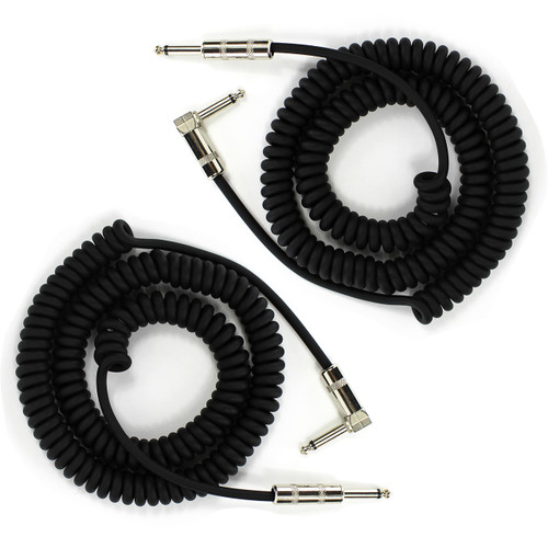 ZoZo Coiled Guitar Cable, 20' Foot Right Angle/Straight Instrument Cable - 2 PACK