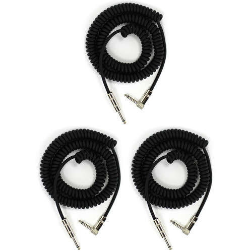 ZoZo Coiled Guitar Cable, 20' Foot Right Angle/Straight Instrument Cable - 3 PACK