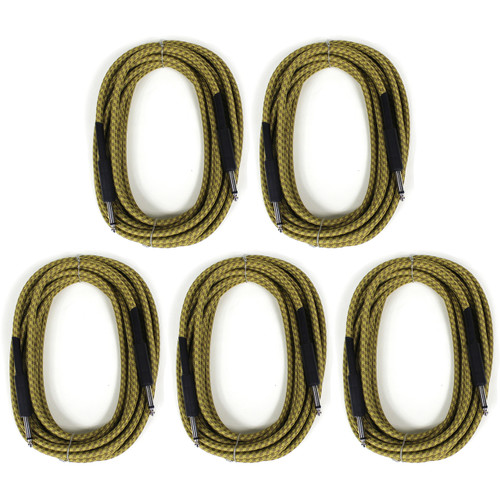 ZoZo Vintage Braided Tweed 20' ft Guitar, Bass and Instrument Cable, 5-Pack (ZZPMB20BC-TW-5PK)