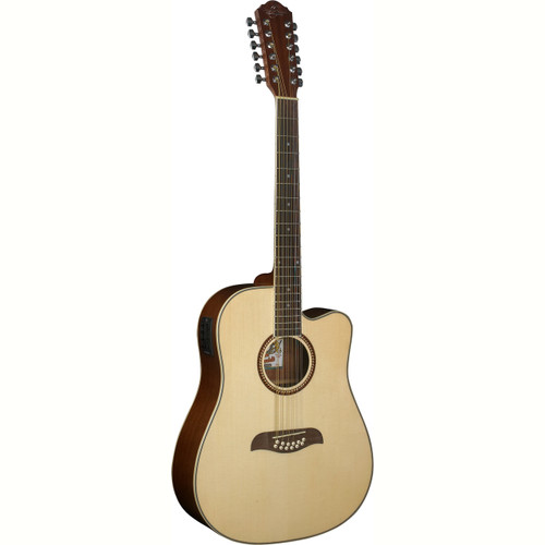 Oscar Schmidt OD312CE Dreadnought 12-String Acoustic Electric Guitar, Natural