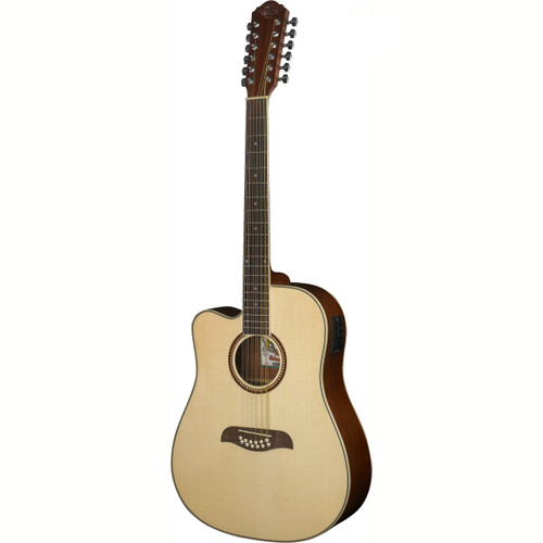 Oscar Schmidt OD312CELH Left Handed 12-String Acoustic Electric Guitar, Natural (OD312CELH)