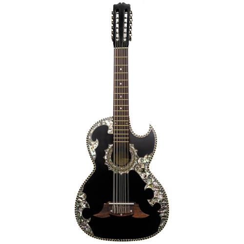 Paracho Elite Belleza 12-String Bajo Sexto Acoustic Guitar with Solid Cedar Top, Black (BELLEZA)