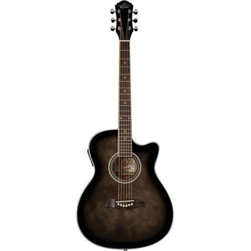 Oscar Schmidt OACEFTB Auditorium Acoustic Electric Guitar, Transparent Black (OACEFTB)
