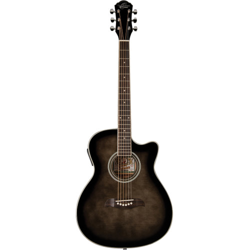 Oscar Schmidt OACEFTB Auditorium Acoustic Electric Guitar, Transparent Black (OACEFTB)